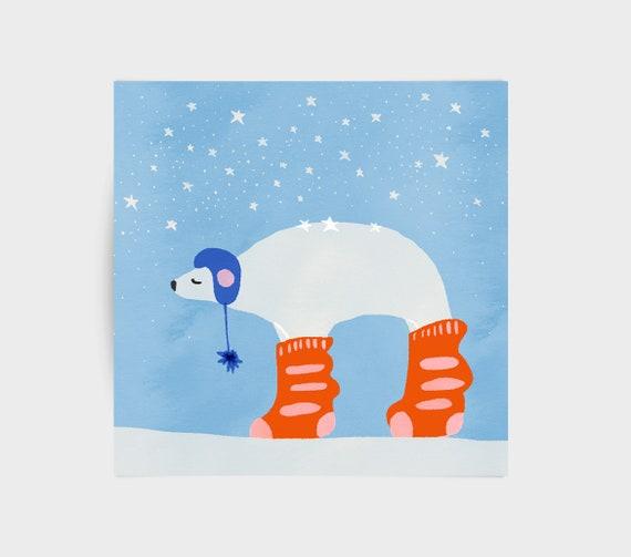 Polar bear greeting card, childrens illustration