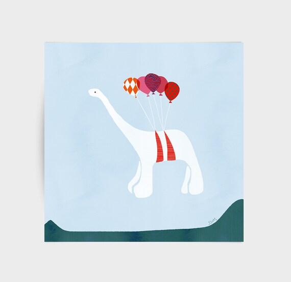 Dinosaur with balloons, greeting card