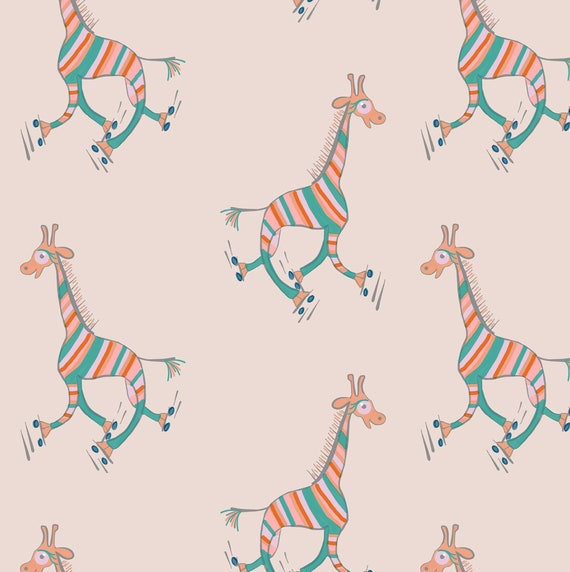 Printable A3 giraffe gift wrap - Striped giraffes roller skating on soft pink