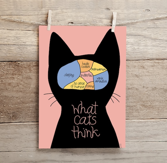 What Cats Think - high quality A4 giclee art print