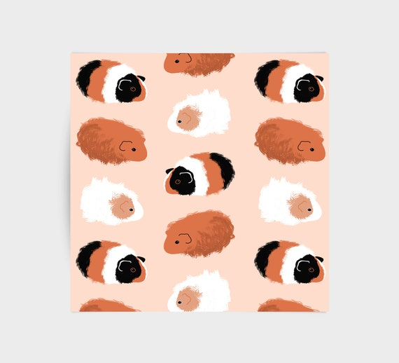 Guinea pigs on peach, greeting card