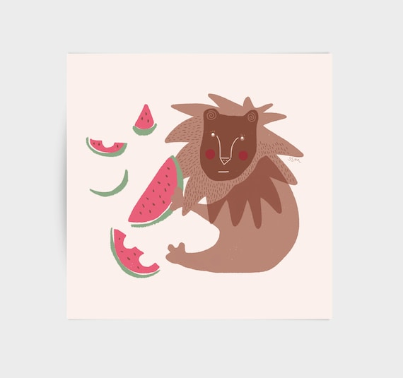 Lion eating watermelon, greeting card