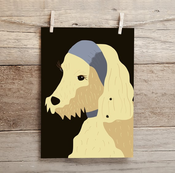 The Dog With The Burr Earring - high quality 20 x 30 cm giclee art print