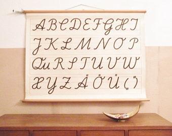 1960er Jahre ABC Schule Chart - Schreibschrift Alphabet Pull-Down Wall Chart - Vintage-Print - 1960er Jahre pädagogische Klassenzimmer Poster