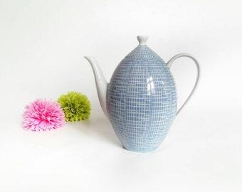 Sky Blue & White Arzberg Coffee Pot - Design Heinrich Löffelhardt - Vintage Tableware - 1950s - 1960s Blue and White Porcelain Coffee Pot
