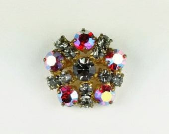 Sparkling Vintage Rhinestone Brooch  - 1960s Pink and Grey Crystal Brooch Pin - Iridescent Sweater Jewelry Gold Tone Brooch Aurora Borealis