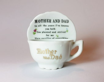 Mother and Dad - Vintage 1920s - 1930s Miniature Porcelain Cup and Saucer - Mom and Dad - Gift for Parents