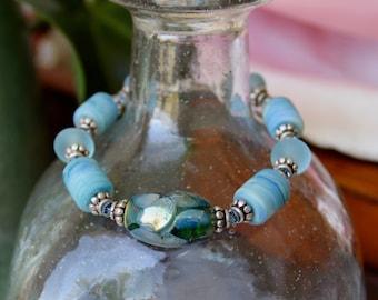 Artisan Glass Lampwork Bead Bracelet