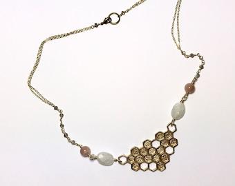 Brass Moonstone + Honeycomb Necklace