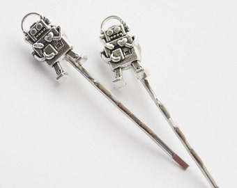 Geeky Gifts, Robot Hair Clips, Robot Bobby Pins, Silver Robot Hair Accessories, Robot Jewelry, Geek Hair, Sci-fi Robot Gifts for Women