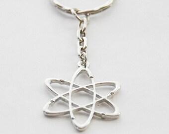 Atom Keychain, Atom Keyring, Science Keychain, Chemistry Keychain, Atomic Keychain, Scientist Keychain, Physics Keychain, Molecule Keychain