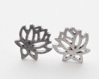 Lotus Stud Earrings, Silver Lotus Earrings, Lotus Flower Earrings, Yoga Jewelry, Zen Earrings, Silver Flower Earrings, Simple Earrings
