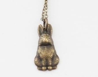 Rabbit Necklace, Vintage Rabbit Charm Necklace, Rabbit Jewelry, Farm Necklace, Brass  Rabbit Necklace, Pet Rabbit Necklace