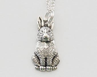 Rabbit Necklace, Silver Rabbit Charm Necklace, Rabbit Jewelry, Farm Necklace, Silver Rabbit Necklace, Pet Rabbit Necklace