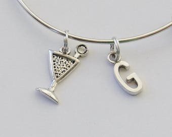 Martini Bangle, Martini  Bracelet, Drink Bracelet, Grad Gift, Martini  glass Bangle, Gifts for Her, Martini Charm Bracelet, Retirement Gift