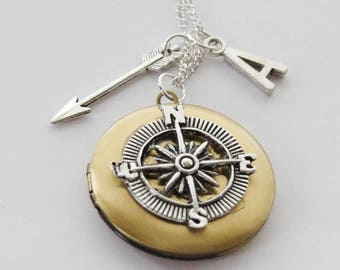 Compass Locket, Wander Locket, Arrow Necklace, Travel Locket, Traveller Locket, Wander Necklace, Compass Necklace, Photo Locket, Hiker gift