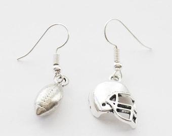 Football Earrings, Football Coach Gift, Silver Football Earrings, Football Jewelry, Football Gifts, Football Jewellery