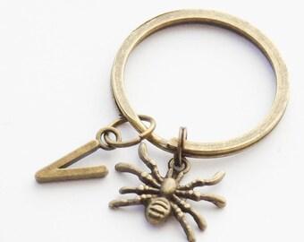 Spider Keychain, Halloween Keychain, Tarantula Keychain, Black Widow Spider Keychain, Custom Initial Keychain, Halloween Spider Key rings