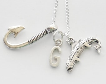 Fishing Necklace, Fish Necklace, Fish hook Necklace, Rainbow Trout Necklace, Angler Necklace, Fisherman Necklace, Large Fishhook Necklace