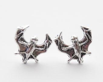 Bat Earrings, Bat Stud Earrings, Bat Studs, Silver Bat Earrings, Bat Jewelry, Tiny Bat Earrings, Vampire Bat, Halloween studs