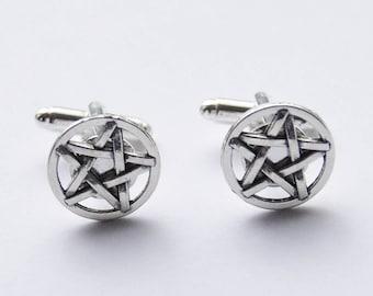 Pentagram Cufflinks, Pentagram Cuff Links, Pentagram Accessories, Star Cufflinks, Goth Cufflinks, Gifts for Men, Halloween Cufflinks