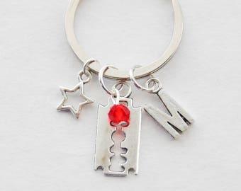 Goth Keychain, Razor Blade Keychain, Emo Keychain, Halloween Keychain, Birthday Gift, Birthday Keychain, Birthstone Initial Keychain