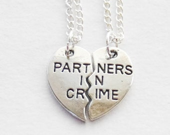 Partners in Crime Necklaces, Best Friends Necklaces, 2 Necklaces, Partners in Crime Necklaces, Best Friends Jewelry, Sister Necklace Set