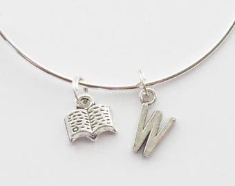 Book Bracelet, Book Lover Gift, Book Bangle, Reader Bracelet, Reader Jewelry, Book Jewelry, Teacher Gift, Librarian Gift, Book Jewelry