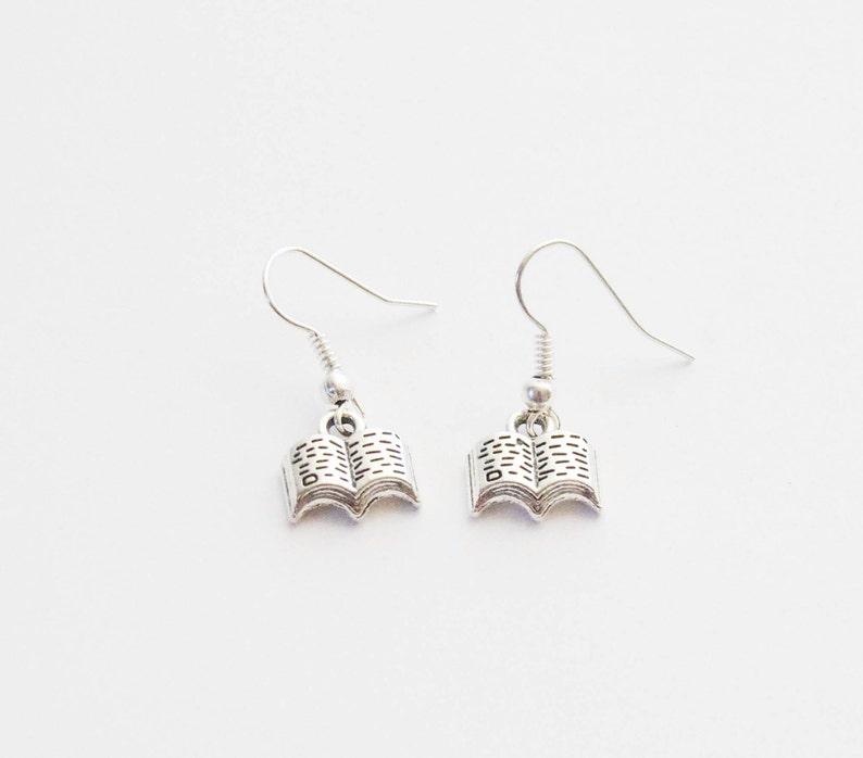Book Earrings Book Lover Gift Book Jewelry Reader Earrings image 0