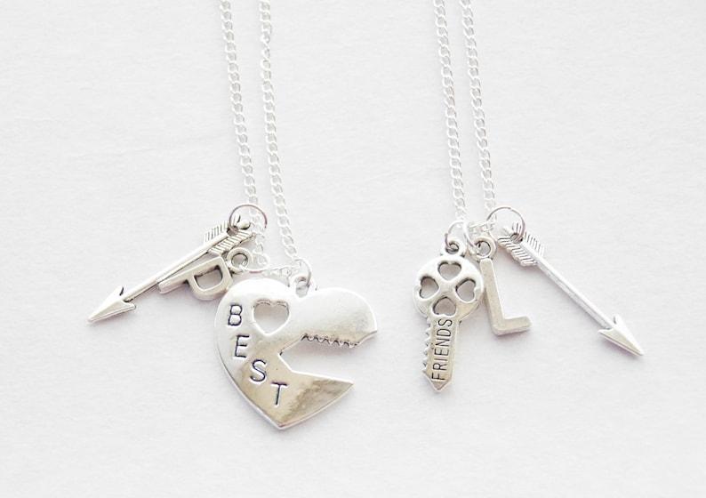 d05b6adfbf 2 Best friend Necklaces Arrow Necklaces Lock and Key | Etsy
