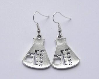 Beaker Earrings Science Earrings Science Beaker Jewelry Chemistry Earrings Scientist Earrings