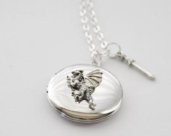 Silver Dragon Locket, Dragon Locket, Dragon Necklace, Dragon Locket Necklace, Dragon Jewelry, Silver Dragon Necklace