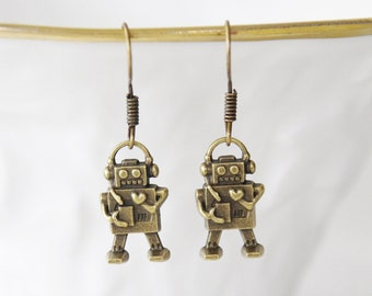 Robot Earrings / Robot Jewelry / 3D Robot Charms / Bronze Robot Earrings / Geek Earrings / Sci-fi Robot Earrings / Girl Robot Jewelry / D172