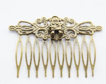 Robot Hair Clip / Robot Jewelry / Bronze Robot Hair Comb / Geek Hair / Sci-fi Robot Hair Piece / Girl Robot Jewelry