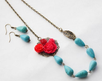 Gifts Under 50, Gifts for Her, Jewelry Set, Red Rose Necklace Set, Turquoise Earrings and Necklace, Turquoise Necklace, Statement Necklace
