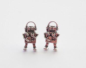 Robot Earrings, Robot Stud Earrings, Robot Jewelry, 3D Robot Charms, Geek Earrings, Sci-fi Robot Earrings, Nerd Earrings, Silver Robot studs
