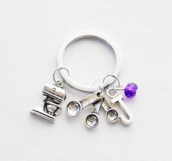 Cuisson porte-clé, Baker porte-clé, cadeaux de cuisson, Mixer porte-clé, porte clé cuillère mesure, mesurant cuillères porte-clés, porte-clé de Pierre de naissance
