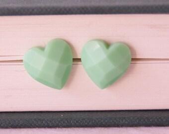Mint Heart Earrings / Mint Bridesmaid Earrings / Mint Stud Earrings / Kawaii Heart Earrings / Love Studs