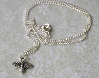Tiny Bumble Bee Necklace: Silver-plated Handmade Bee Wasp Insect Woodland Charm Necklace