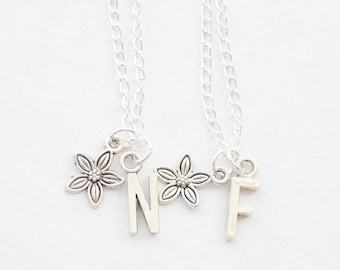 Best Friends Necklaces, 2 Flower Necklaces, Gardening Gifts, Gardener Necklaces, Silver Flower Necklaces, Initial Necklace Set
