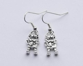 Robot Earrings, Silver Robot Jewelry, 3D Robot Charms, Robot Gift, Geek Earrings / Sci-fi Robot Earrings / Girl Robot Jewelry