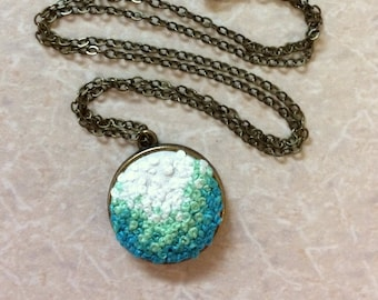 Blue Ombre Embroidery Necklace