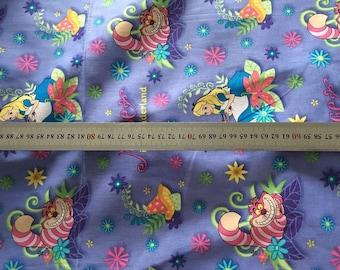 Pretty ALice cheshire cat Cotton fabric 50*110 cm 1/2 yard