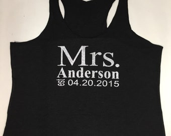Eco Mrs Tank. Personalized date Shirt. Bride Shirt. Wedding Shirt.  Last Name Tank top. Bride tank top.