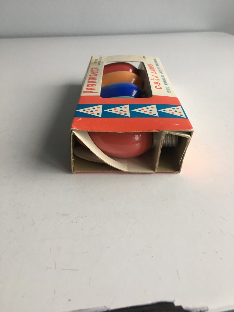 Vintage Christmas Light Bulbs Paramount NIP New Old Stock 120 Volts Blue Green Pink Orange