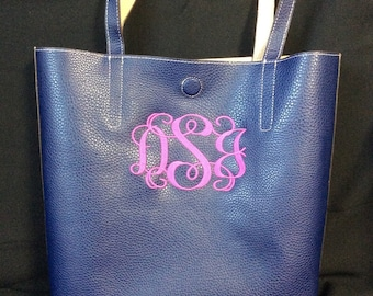 Faux Leather Monogrammed Purse