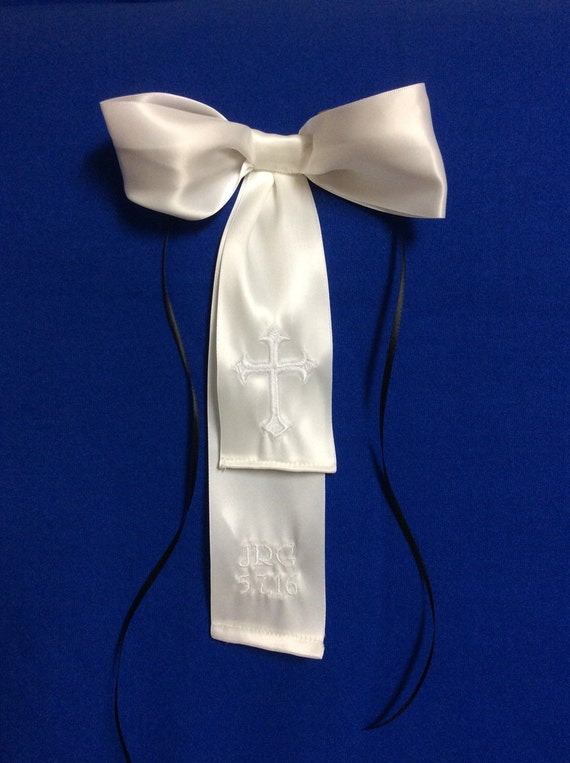 New Boys first communion Satin tie with cross embroidery Clip 14 Inches