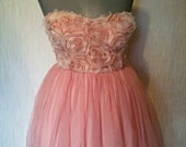 prom special occasion bridesmaid ballgown chiffon over satin rose trimmed shaped boned corset top padded bust size uk-10-usa size-8