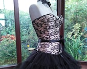boned lace satin corset net tutu skirt with lace choker necklace day of the dead dracula bride zombie steampunk gothic victorian dress
