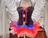 Corset dress Halloween burlesque party stage goth day of the dead zombie tutu skirt can be worn separate to the corset